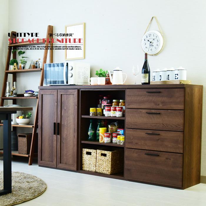 【クーポン配布中】キッチンカウンター 幅180cm 日本製 サイドボード 書棚 リビングボード 食器棚 フリーボード 選べる収納家具 カウンター ミドルボード ハイカウンター ブラウン