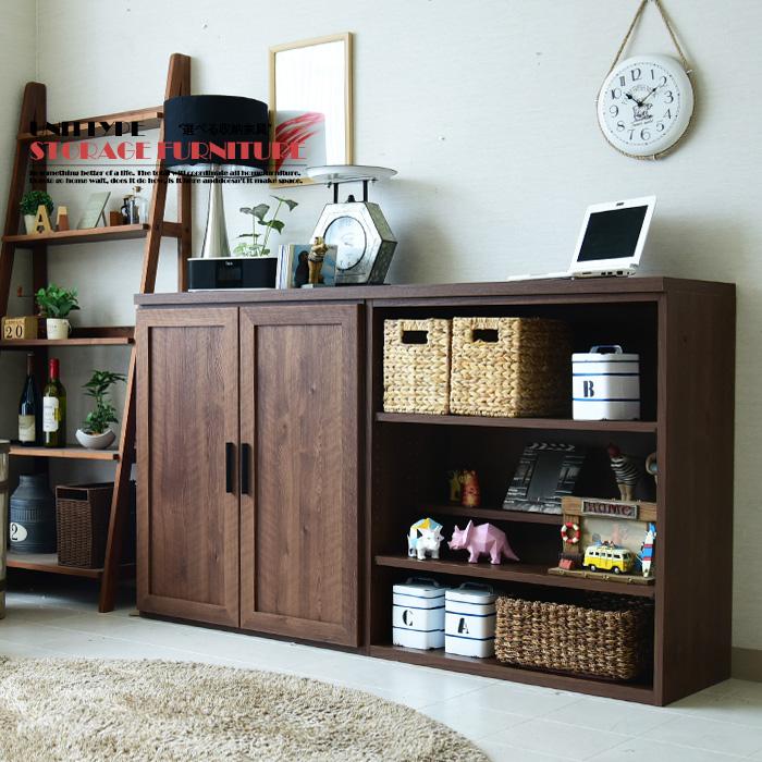 【クーポン配布中】キッチンカウンター 幅160cm 日本製 サイドボード 書棚 リビングボード 食器棚 フリーボード 選べる収納家具 カウンター ミドルボード ハイカウンター ブラウン