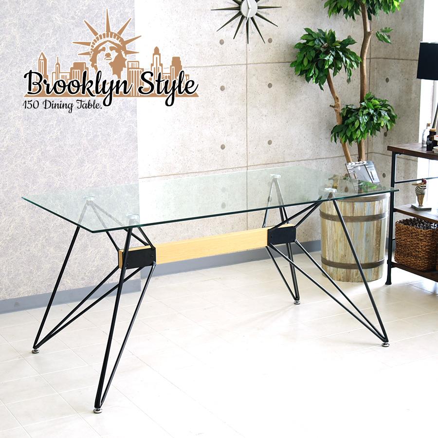 【クーポン配布中】ダイニングテーブル 幅150cm アイアン インダストリアル カフェ 強化ガラス ダイニング ブルックリンスタイル
