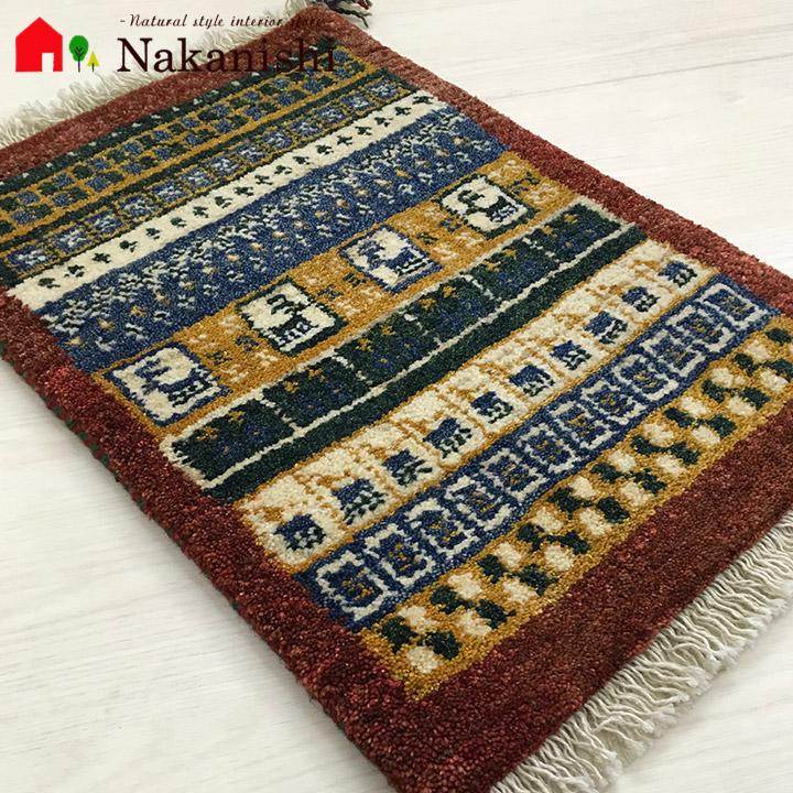 【ギャッベ ベビーマット 約43×62cm cuoji くぅーぢぃー】GABBEH・ギャッペ(ギャべ)・イラン製・玄関マット・カーペット・ラグ・絨毯(じゅうたん)・カラフル