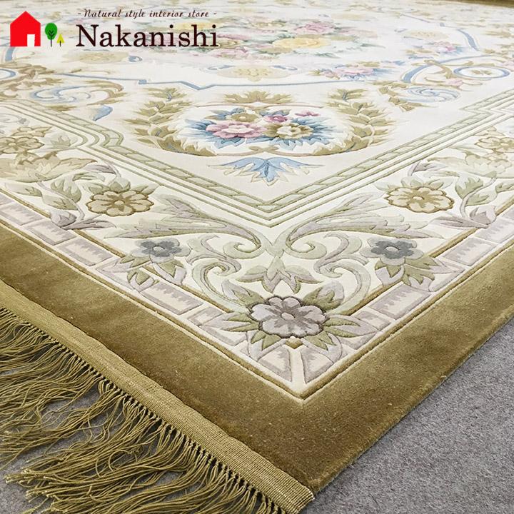 【中国段通 シルク 約4.5畳用】「ウォリックガーデン」絨毯(じゅうたん)・カーペット・ラグ・絹(シルク)100%・約246×250cm・120段【代引不可】