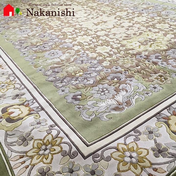 【中国段通 シルク 約3畳用】「緑志」絨毯(じゅうたん)・カーペット・ラグ・絹(シルク)100%・約169×244cm・120段・グリーン系