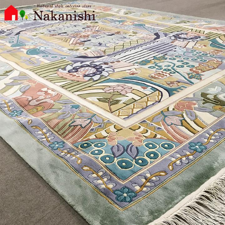 【中国段通 シルク 約3畳用】「Miro」絨毯(じゅうたん)・カーペット・ラグ・絹(シルク)100%・約168.5×239cm・140段・カラフル