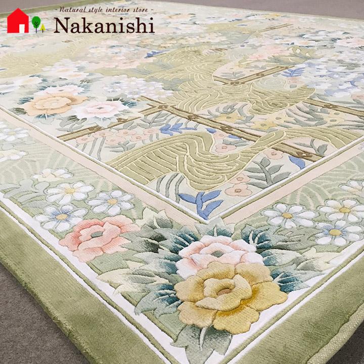 【中国段通 シルク 約3畳用】「自然へのご褒美」絨毯(じゅうたん)・カーペット・ラグ・絹(シルク)100%・約167×244cm・120段・グリーン