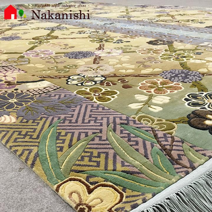 【中国段通 シルク 約6畳用 虹色の万華鏡(5063)】絨毯(じゅうたん)・カーペット・ラグ・絹(シルク)100%・約245×308cm・120段・カラフル