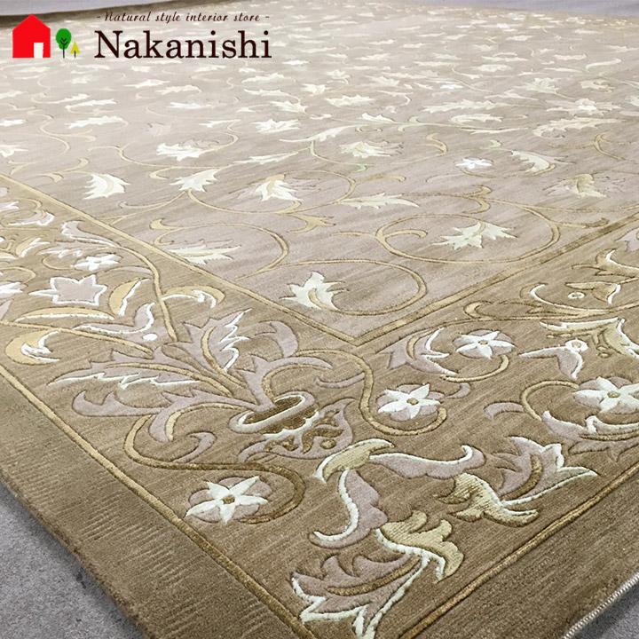 【中国段通 ウール&シルク 約6畳用 美羽(15WS)】絨毯(じゅうたん)・カーペット・ラグ・約245×309cm・ベージュ系
