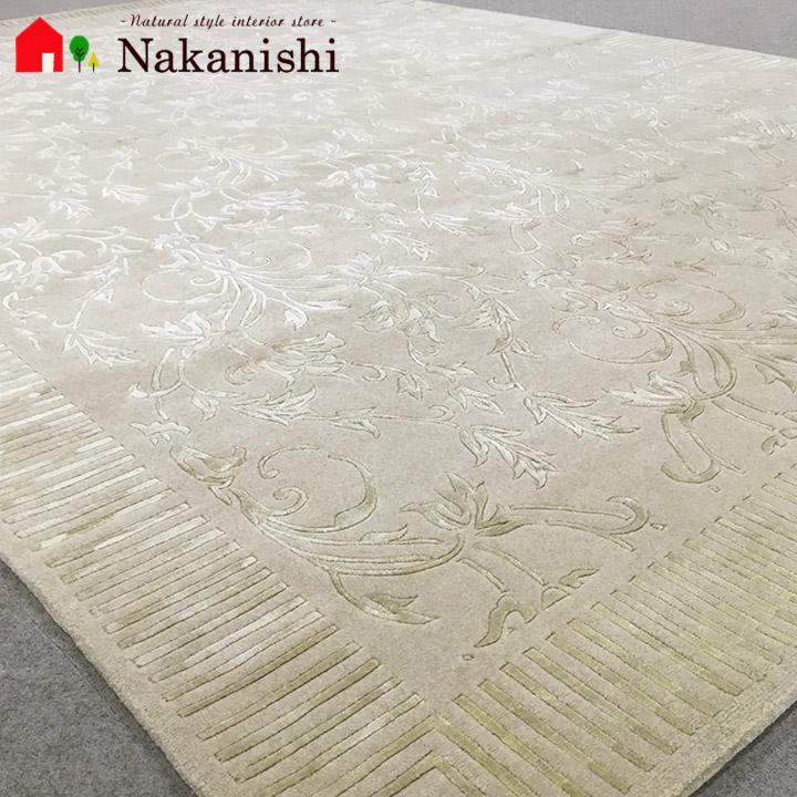 【中国段通 ヤク&シルク 約3畳用 神々のふるさと(1005)】絨毯(じゅうたん)・カーペット・ラグ・約166×241cm・ベージュ系