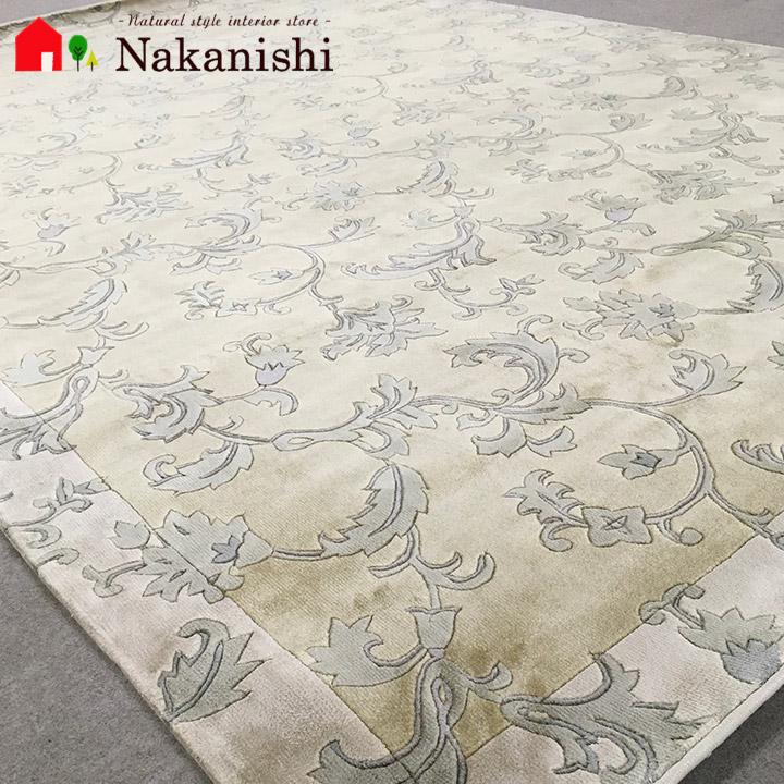 【中国段通 シルク 約3畳用 天網恢々】絨毯(じゅうたん)・カーペット・ラグ・絹(シルク)100%・約168×246cm・120段・ベージュ系