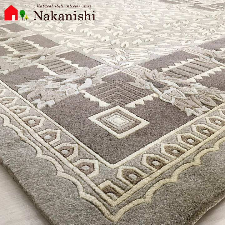 【中国段通 ウール 約3畳用】「casa mila(Lapedrera)」絨毯(じゅうたん)・カーペット・ラグ・毛(ウール)100%・約165×245cm・90段・ベージュ・ブラウン・ナチュラル