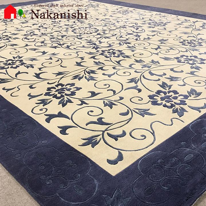 【中国段通 ウール&シルク 約6畳用 青い空(QHM2)】絨毯(じゅうたん)・カーペット・ラグ・約241×304cm・150段・ブルー系・アイボリー系
