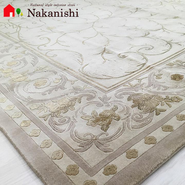 【中国段通 ウール&シルク 約3畳用 かたばみ~ひっそりと咲く花のように~】絨毯(じゅうたん)・カーペット・ラグ・約169×247cm・150段・ベージュ系