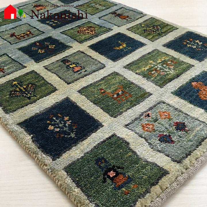 【ギャッベ 玄関マット 約60×89cm 10257】GABBEH・ギャッペ(ギャべ)・イラン製・玄関マット・カーペット・ラグ・絨毯(じゅうたん)・ブルー系・グリーン系