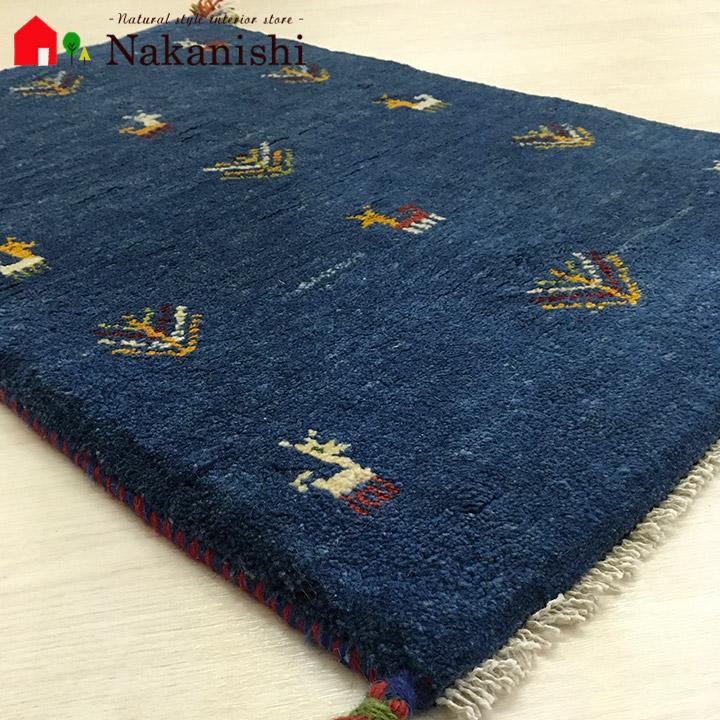 【ギャッベ 玄関マット 約60×89cm 1699】GABBEH・ギャッペ(ギャべ)・イラン製・玄関マット・カーペット・ラグ・絨毯(じゅうたん)・ブルー