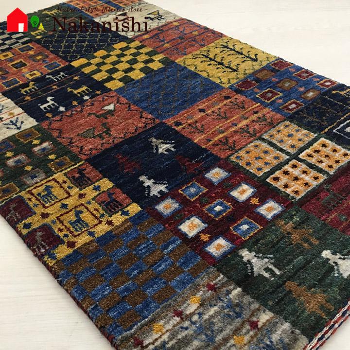 【ギャッベ 玄関マット 約62×100cm 響】GABBEH・ギャッペ(ギャべ)・イラン製・玄関マット・カーペット・ラグ・絨毯(じゅうたん)・マルチカラー