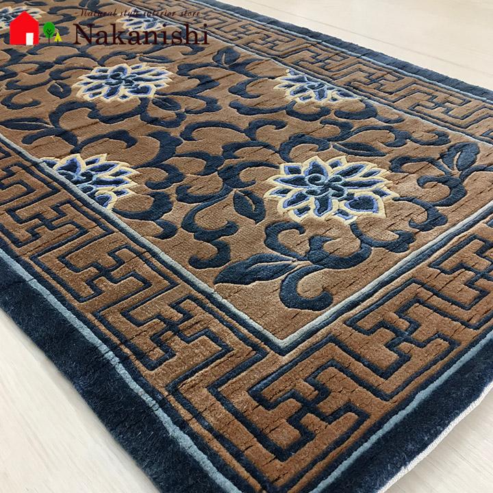 【中国段通 シルク 玄関マット】「逢」絨毯(じゅうたん)・カーペット・ラグ・絹(シルク)100%・約61×120cm・120段・ブルー系