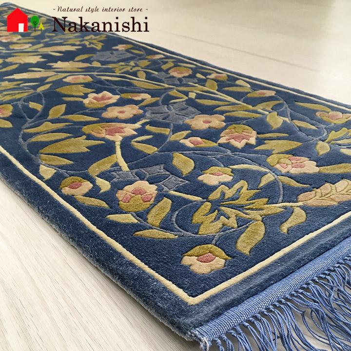 【中国段通 シルク 玄関マット】「空」絨毯(じゅうたん)・カーペット・ラグ・框(かまち)・ロングマット・キッチンマット・絹(シルク)100%・約39×124cm・120段・ブルー系