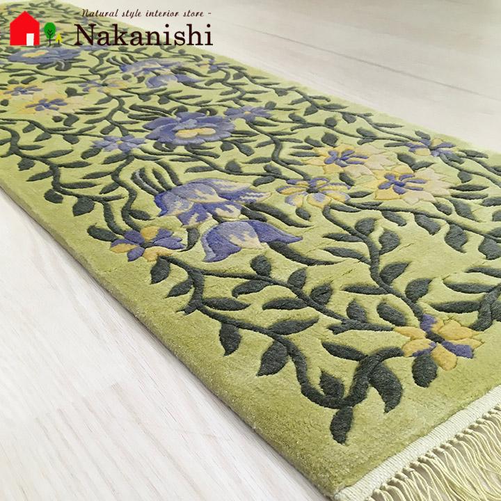 【中国段通 シルク 玄関マット】「スプリングYG」絨毯(じゅうたん)・カーペット・ラグ・框(かまち)・ロングマット・キッチンマット・絹(シルク)100%・約39×124cm・120段・イエローグリーン系