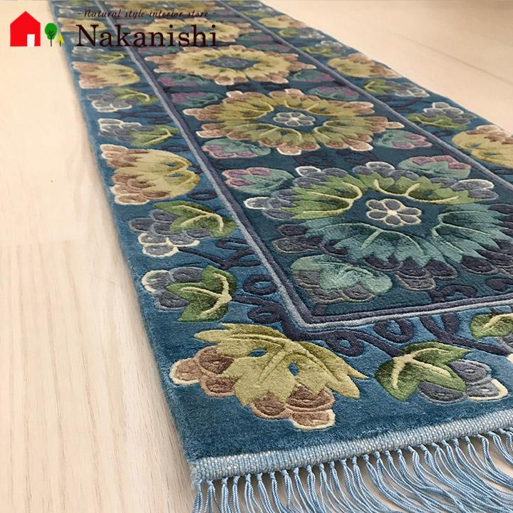 【中国段通 シルク 玄関マット】「空」絨毯(じゅうたん)・カーペット・ラグ・框(かまち)・ロングマット・キッチンマット・絹(シルク)100%・約40×156cm・120段・ブルー系