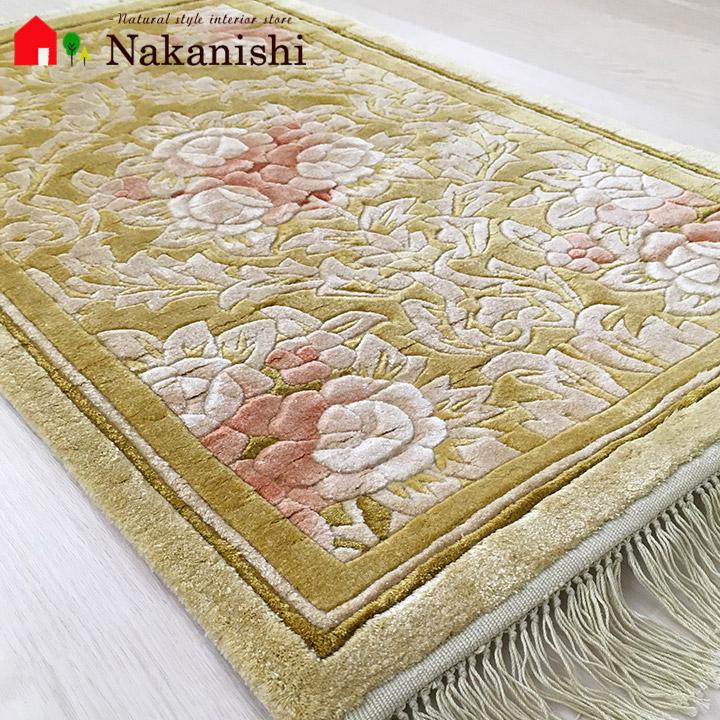 【中国段通 シルク 玄関マット】「光」絨毯(じゅうたん)・カーペット・ラグ・絹(シルク)100%・約47×76cm・120段・イエロー系