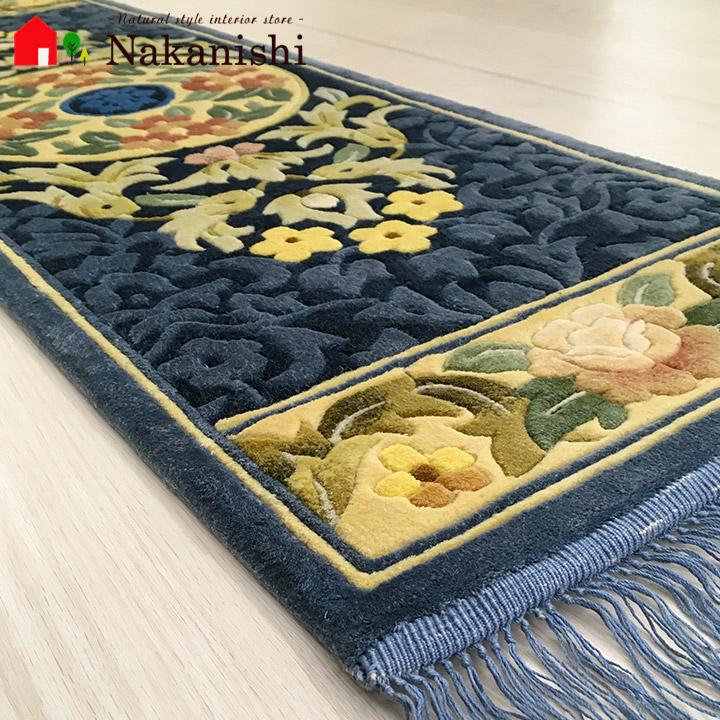 【中国段通 シルク 玄関マット】「天」絨毯(じゅうたん)・カーペット・ラグ・框(かまち)・ロングマット・キッチンマット・絹(シルク)100%・約39×124cm・120段・ブルー系
