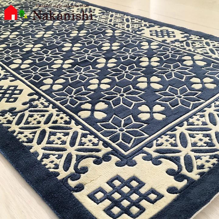 【中国段通 シルク 玄関マット】「碧」絨毯(じゅうたん)・カーペット・ラグ・絹(シルク)100%・約63×122cm・120段・ブルー系