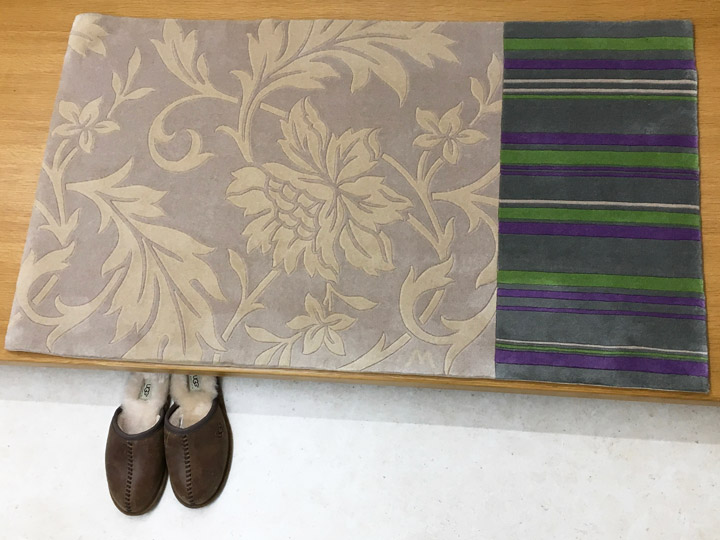 【中国段通 ウール 玄関マット】「Damasuku」絨毯(じゅうたん)・カーペット・ラグ・毛(ウール)100%・約70×124cm・150段・ベージュ・カラフル