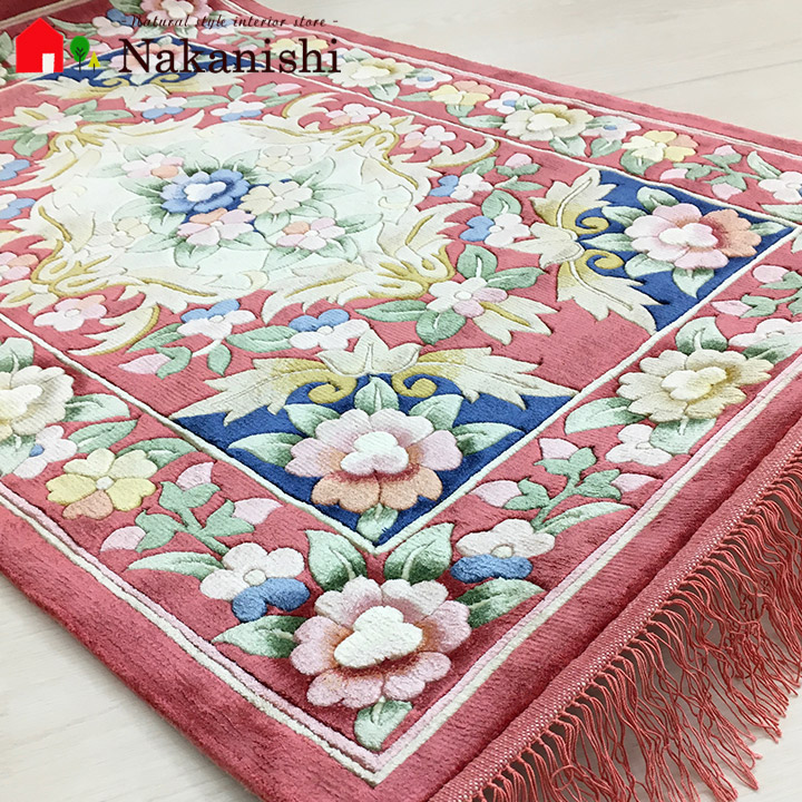 【中国段通 シルク 玄関マット】「梅」絨毯(じゅうたん)・カーペット・ラグ・絹(シルク)100%・約63×93cm・120段・ピンク系