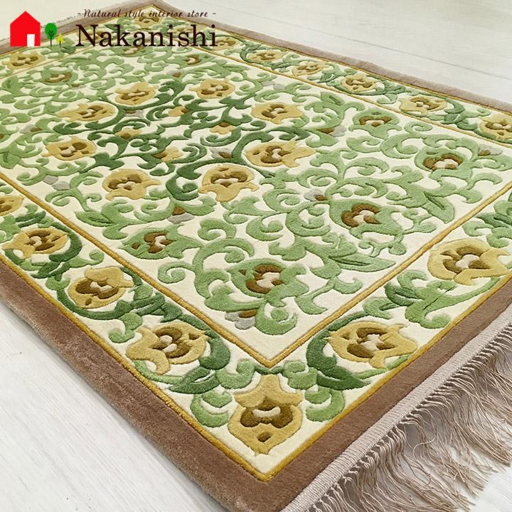 【中国段通 シルク 玄関マット】「若葉」絨毯(じゅうたん)・カーペット・ラグ・絹(シルク)100%・約62×95cm・120段・グリーン系