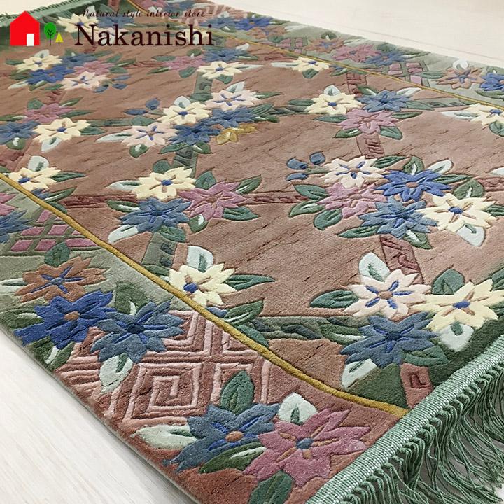 【中国段通 シルク 玄関マット】「赤白橡」絨毯(じゅうたん)・カーペット・ラグ・絹(シルク)100%・約62×91cm・120段・ベージュ系・グリーン系