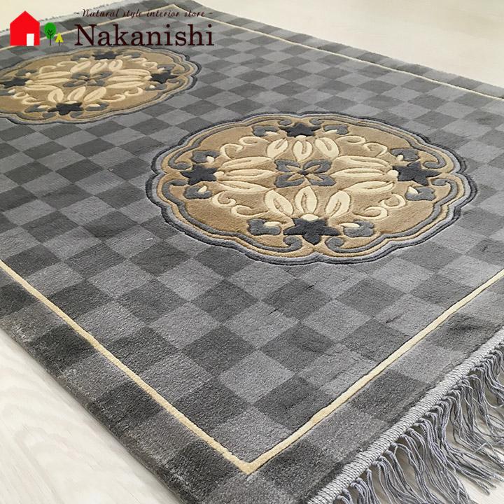 【中国段通 シルク 玄関マット】「白銀」絨毯(じゅうたん)・カーペット・ラグ・絹(シルク)100%・約63×90cm・120段・グレー系