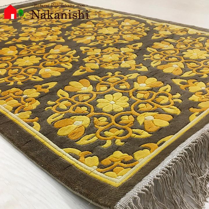 【中国段通 シルク 玄関マット】「たんぽぽ」絨毯(じゅうたん)・カーペット・ラグ・絹(シルク)100%・約62×92cm・120段・ゴールド系