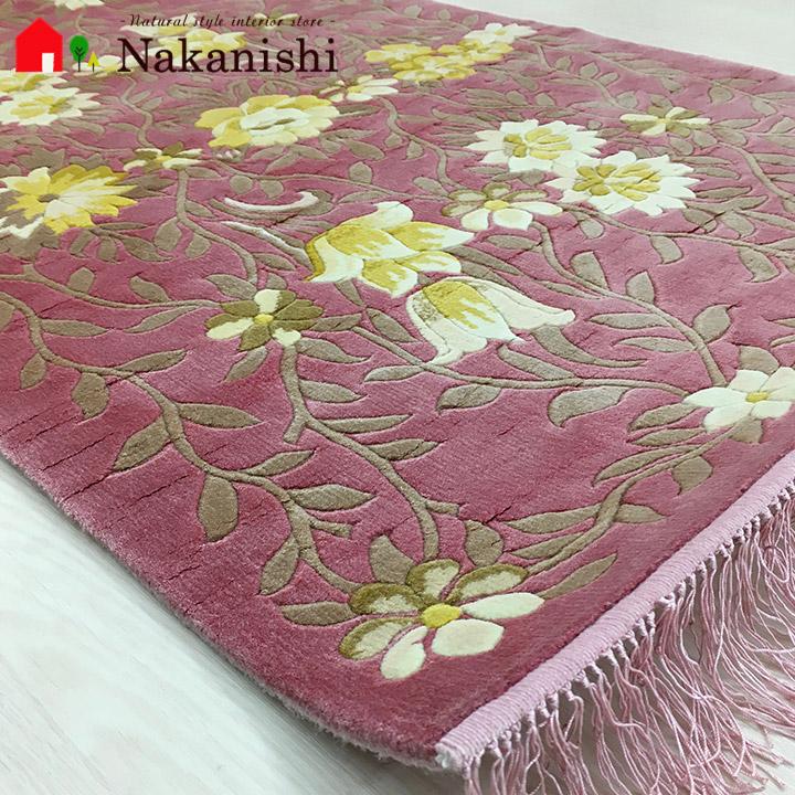 【中国段通 シルク 玄関マット】「紅梅」絨毯(じゅうたん)・カーペット・ラグ・絹(シルク)100%・約62×96cm・120段・ピンク系