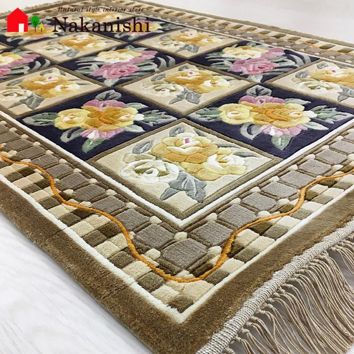 【中国段通 シルク 玄関マット】「王」絨毯(じゅうたん)・カーペット・ラグ・絹(シルク)100%・約62×93cm・120段・カラフル
