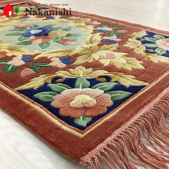 【中国段通 シルク 玄関マット】「橙」絨毯(じゅうたん)・カーペット・ラグ・絹(シルク)100%・約47×78.5cm・120段・オレンジ系