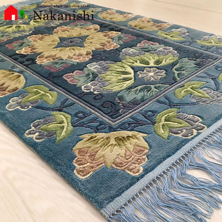 【中国段通 シルク 玄関マット】「実」絨毯(じゅうたん)・カーペット・ラグ・絹(シルク)100%・約47×78cm・120段・ブルー系