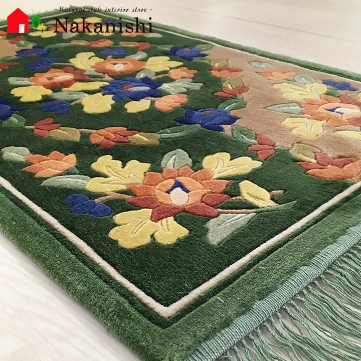 【中国段通 シルク 玄関マット】「祈」絨毯(じゅうたん)・カーペット・ラグ・絹(シルク)100%・約46×79cm・120段・グリーン系