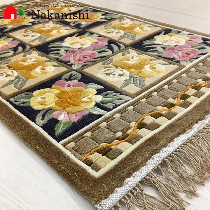 【中国段通 シルク 玄関マット】「綾」絨毯(じゅうたん)・カーペット・ラグ・絹(シルク)100%・約46×77cm・120段・ベージュ系