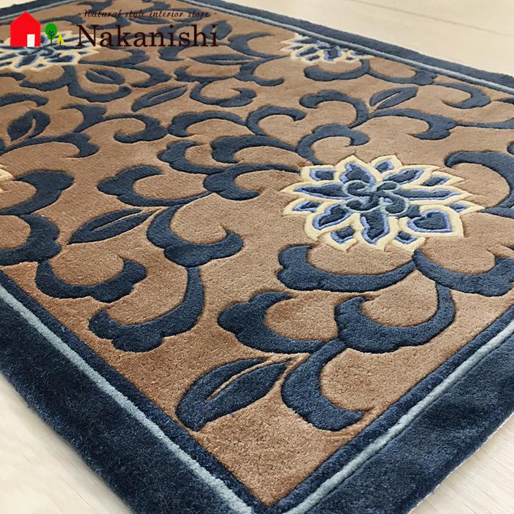 【中国段通 シルク 玄関マット】「逢」絨毯(じゅうたん)・カーペット・ラグ・絹(シルク)100%・約50×78cm・120段・ブルー系