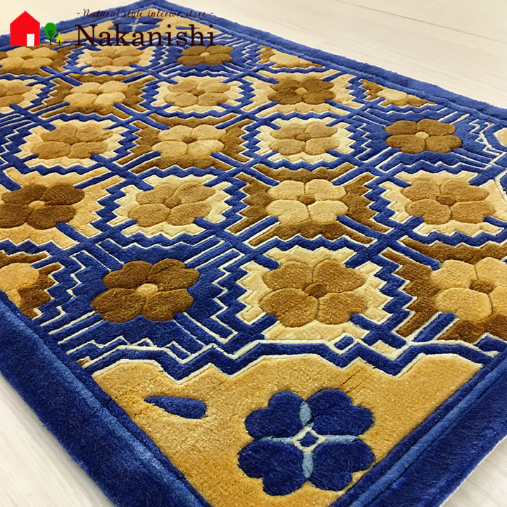 【中国段通 シルク 玄関マット】「露」絨毯(じゅうたん)・カーペット・ラグ・絹(シルク)100%・約50.5×76.5cm・120段・ブルー系