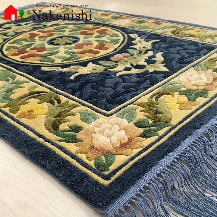 【中国段通 シルク 玄関マット】「天」絨毯(じゅうたん)・カーペット・ラグ・絹(シルク)100%・約62×92.5cm・120段・ブルー系
