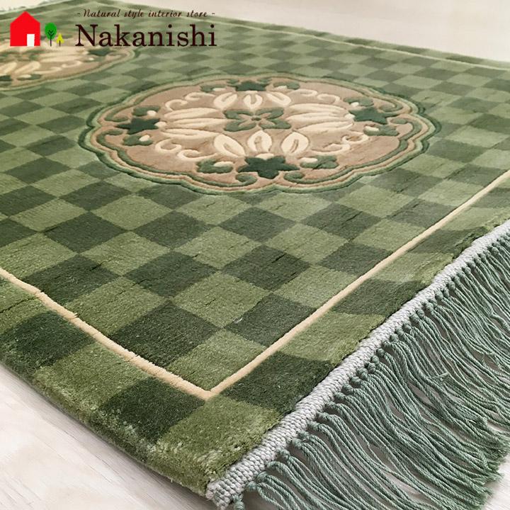 【中国段通 シルク 玄関マット】「園」絨毯(じゅうたん)・カーペット・ラグ・絹(シルク)100%・約64×92cm・120段・グリーン系