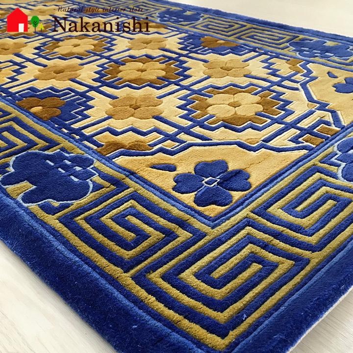 【中国段通 シルク 玄関マット】「露」絨毯(じゅうたん)・カーペット・ラグ・絹(シルク)100%・約63×121cm・120段・ブルー系