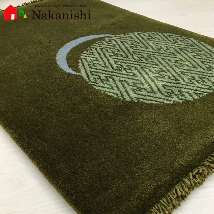 【中国段通 ウール 玄関マット 手毬2】絨毯(じゅうたん)・カーペット・ラグ・毛(ウール)100%・約63×94cm・100段・グリーン系・草木染め