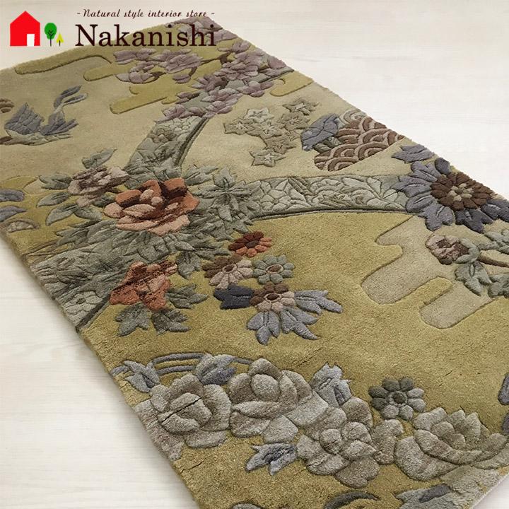 【中国段通 ウール 玄関マット M79】絨毯(じゅうたん)・カーペット・ラグ・毛(ウール)100%・約69×123cm・90段・ベージュ系