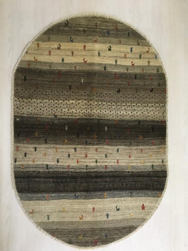 【ギャッベ ラウンドラグ 自然の恵み】GABBEH・ギャッペ(ギャべ)・イラン製・カーペット・ラグ・絨毯(じゅうたん)・円形・丸・楕円・オーバル・約121×180cm・ブラウン・ベージュ