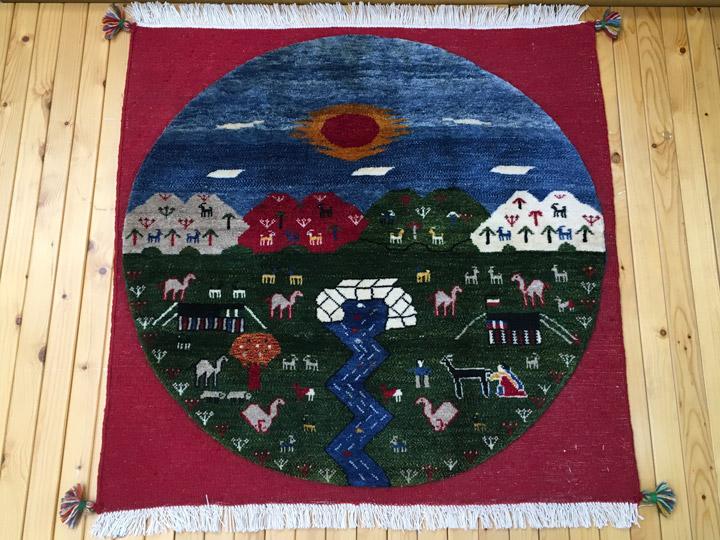 【ギャッベ ラウンドラグ wai nani 清らかな水】GABBEH・ギャッペ(ギャべ)・イラン製・カーペット・ラグ・絨毯(じゅうたん)・円形・丸・正方形・約100×100cm・マルチカラー・レッド