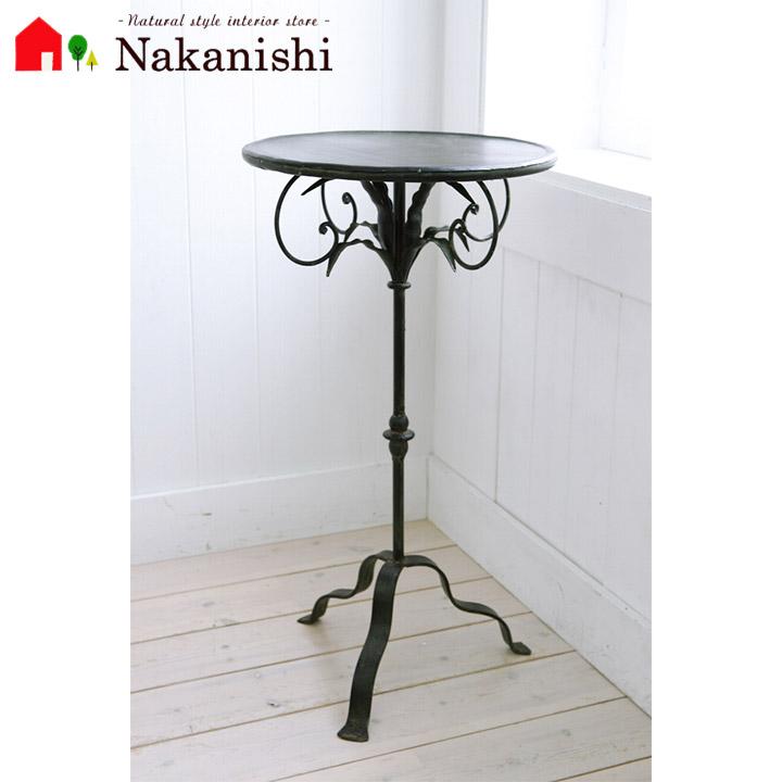 【ノアール・スモールスタンド BX-91】サイドテーブル・花台・アイアン・テーブル・ミニテーブル・アンティーク調・ブラック