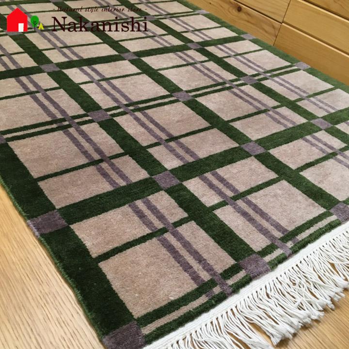 【送料無料】パキスタン 手織り 玄関マット チェック文様 絨毯(じゅうたん)・カーペット・ラグ・毛(ウール)100%・約60×90cm