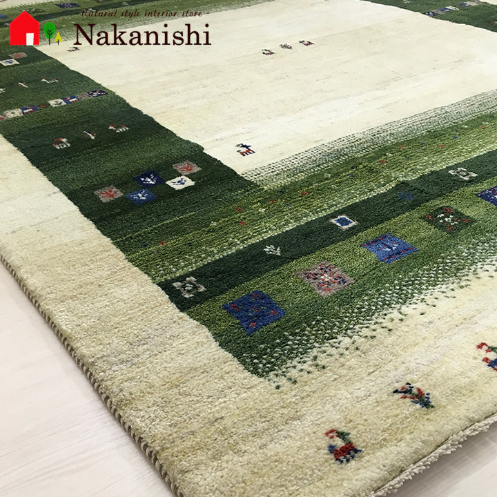 【ギャッベラグ 約3畳 約204×242cm 11805】GABBEH・ギャッペ(ギャべ)・イラン製・カーペット・ラグ・絨毯(じゅうたん)・グリーン系