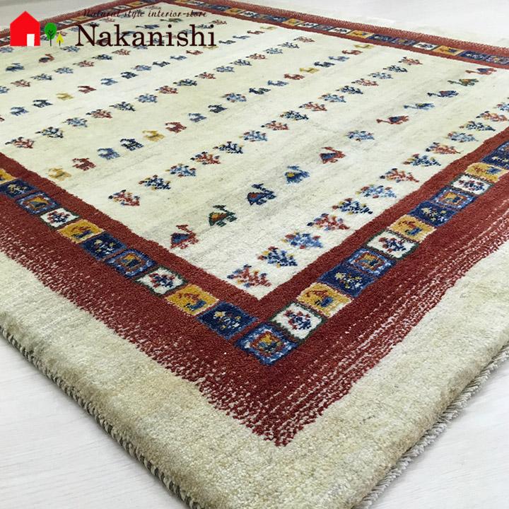 【ギャッベラグ 約1.5畳 約150×191cm 祭(1286)】GABBEH・ギャッペ(ギャべ)・イラン製・カーペット・ラグ・絨毯(じゅうたん)・カラフル